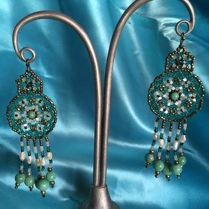 Vntg Lg Beaded dangle earrings/One of a kind